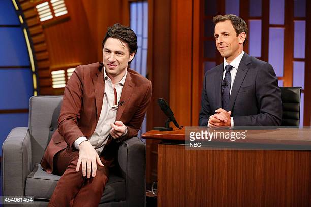 Actor Zach Braff during an interview with host Seth Meyers on July 21 2014
