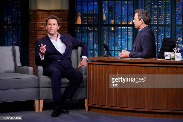Episode 731 -- Pictured: Actor Dominic West during an interview with host Seth Meyers on September 12, 2018 --