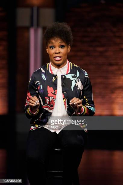 """Episode 731 -- Pictured: Amber Ruffin during the """"Amber Says What!?"""" segment on September 12, 2018 --"""