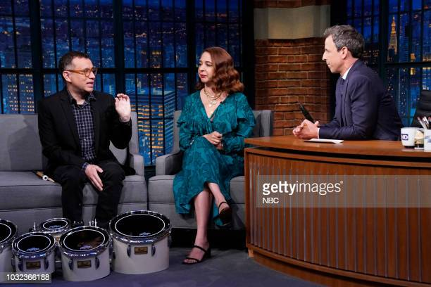 Fred Armisen and Maya Rudolph during an interview with host Seth Meyers on September 12 2018