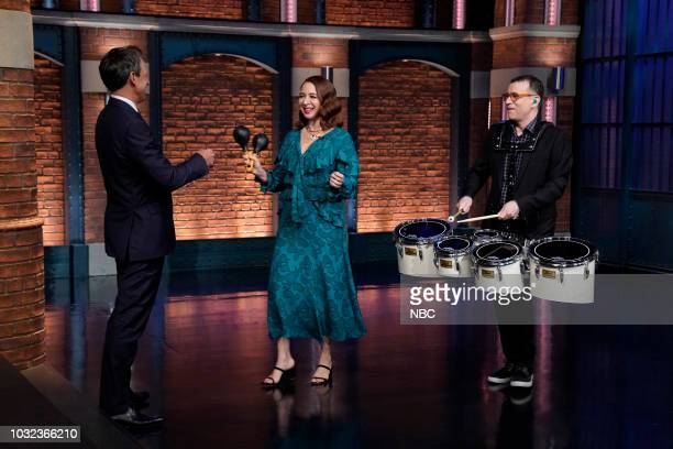 Episode 731 -- Pictured: Host Seth Meyers greets Maya Rudolph and Fred Armisen on September 12, 2018 --