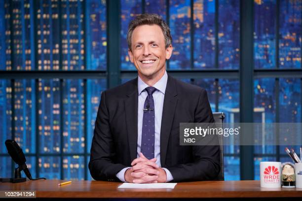 Host Seth Meyers delivers the monologue from his desk on September 13 2018