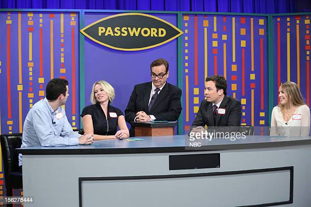 Chelsea Handler Steve Higgins and host Jimmy Fallon during a skit on November 12 2012