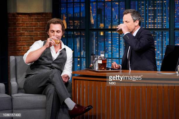 Episode 735 -- Pictured: Actor Matthew McConaughey during an interview with host Seth Meyers on September 19, 2018 --