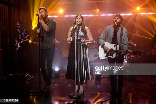 Charles Kelley Hillary Scott and Dave Haywood of musical guest Lady Antebellum perform on September 19 2018