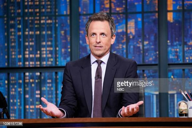 Host Seth Meyers delivers the monologue from his desk on September 19 2018