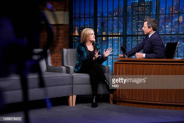 Comedian Samantha Bee during an interview with host Seth Meyers on September 24 2018