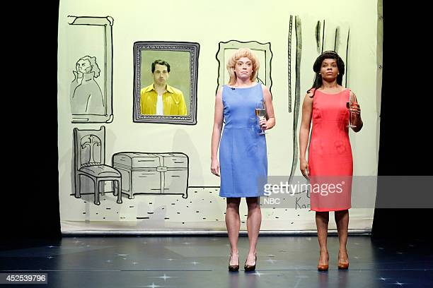 Show writers Connor O'Malley Michelle Wolf Amber Ruffin during New Yorker Cartoons skit on July 22 2014