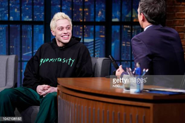 Comedian Pete Davidson during an interrview with host Seth Meyers on September 27 2018
