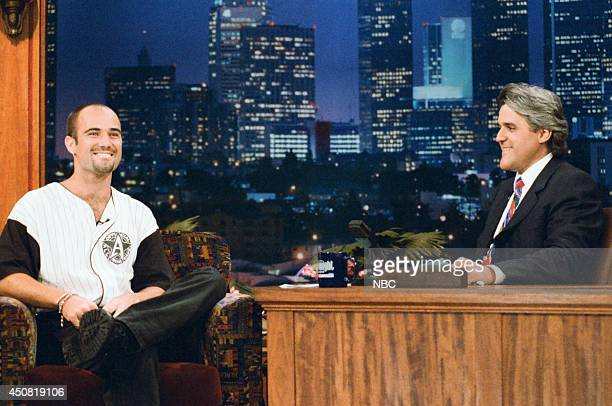 Tennis player Andre Agassi during an interview with host Jay Leno on July 31 1995