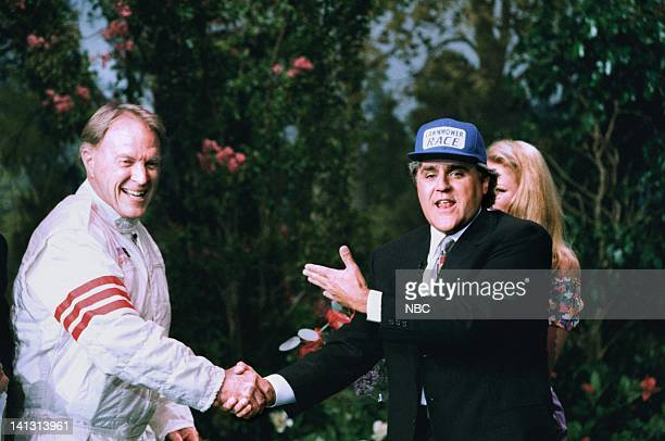 LENO Episode 745 Air Date Pictured Racecar driver Dan Gurney with host Jay Leno during a skit on August 7 1995 Photo by NBCU Photo Bank