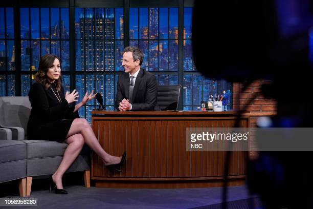 Journalist Hallie Jackson during an interview with host Seth Meyers on November 7 2018