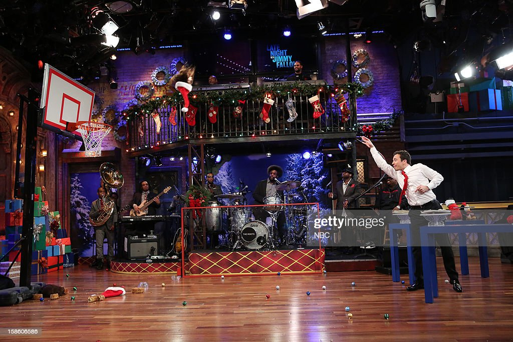 The Roots during a skit with Cee Lo Green and host Jimmy Fallon on December 20, 2012 --