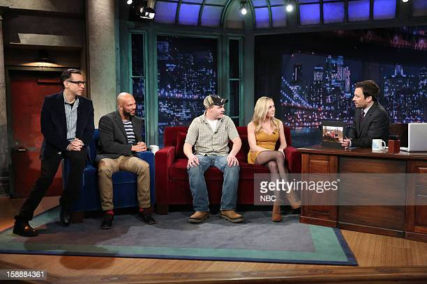 Episode 757 -- Pictured: Fred Armisen, Common, Shain Gandee, and Shae Bradley during an interview with host Jimmy Fallon on January 2, 2013 --