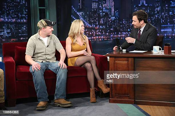 Episode 757 -- Pictured: Shain Gandee and Shae Bradley during an interview with host Jimmy Fallon on January 2, 2013 --