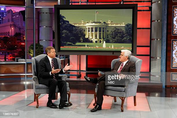 NBC Nightly News anchor Brian Williams host Jay Leno during the Earn Your Plug segment on January 8 2010