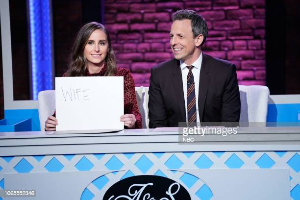 Alexi Ashe Seth Meyers during 'Newlywed Game' segment on November 22 2018