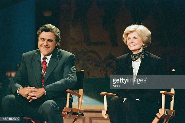 Host Jay Leno and actress Barbara Billingsley during the Why I Love TV skit on September 6 1995