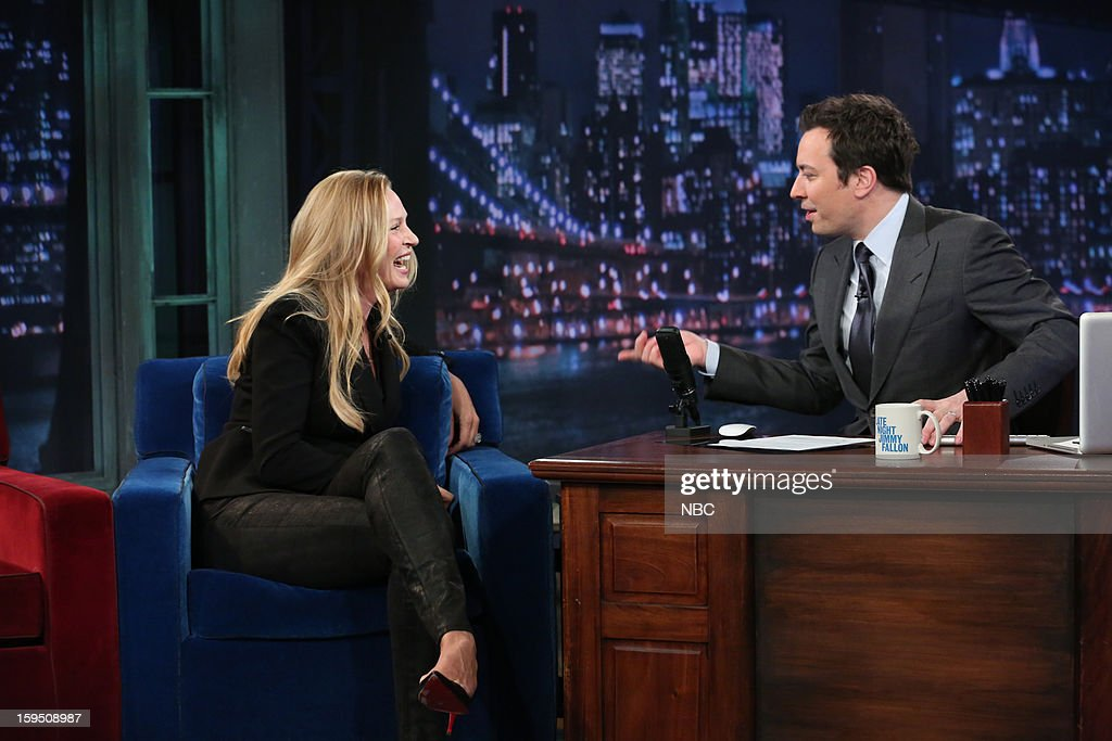 Actress Uma Thurman during an interview with host Jimmy Fallon on January 14, 2013 --
