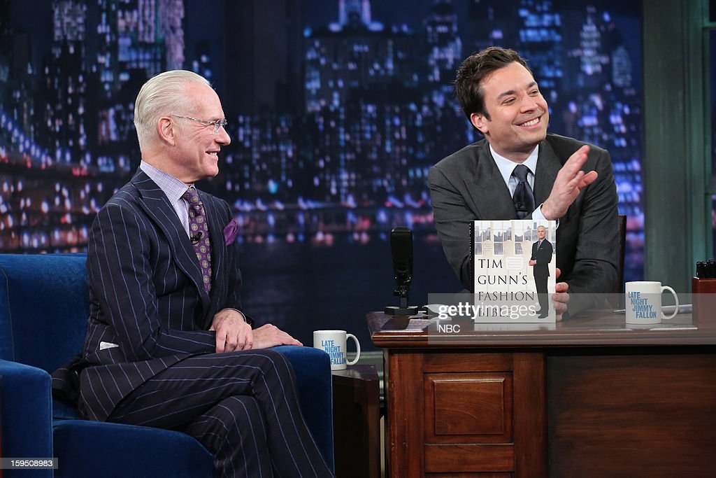 Fashion consultant Tim Gunn during an interview with host Jimmy Fallon on January 14, 2013 --