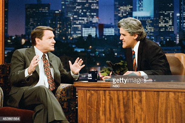 Journalist Jim Lehrer during an interview with host Jay Leno on September 12 1995