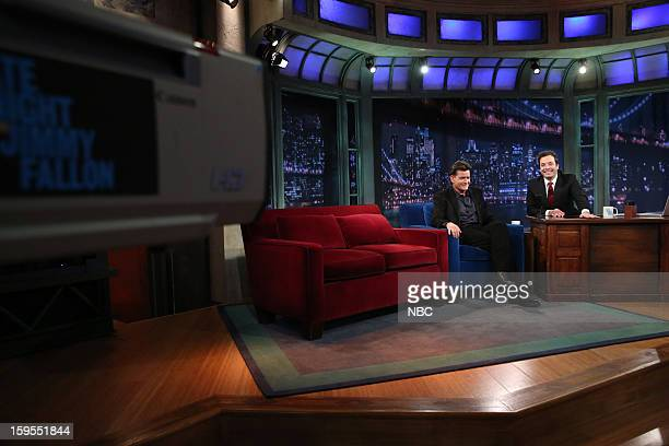 Charlie Sheen during an interview with host Jimmy Fallon on January 15 2013