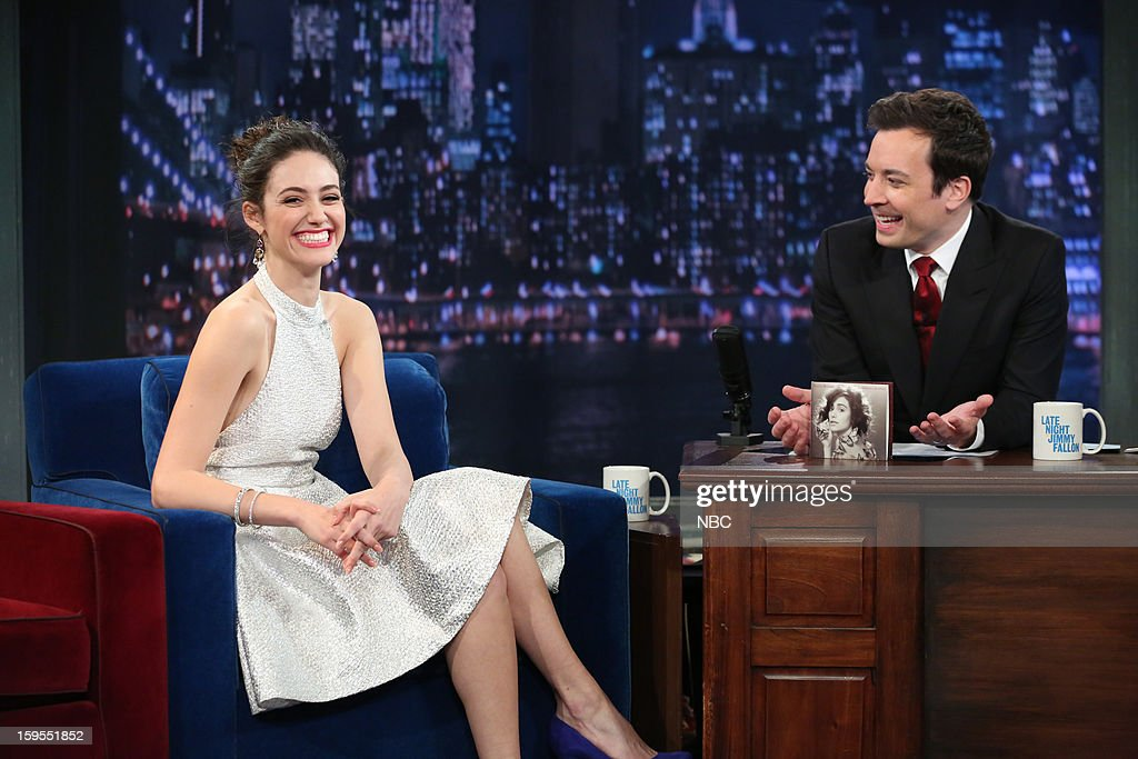 Emmy Rossum during an interview with host Jimmy Fallon on January 15, 2013 --