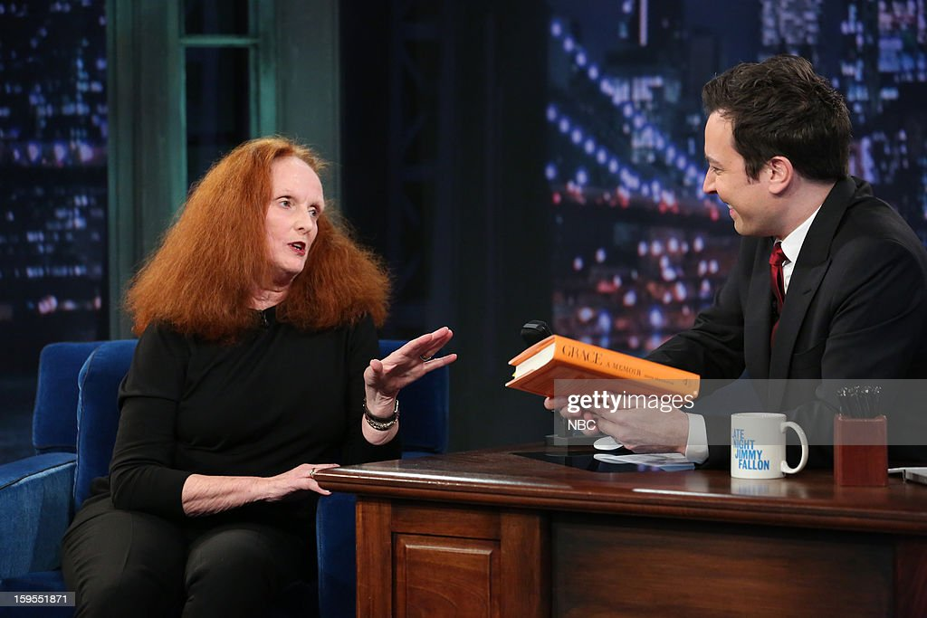 Grace Coddington during an interview with host Jimmy Fallon on January 15, 2013 --