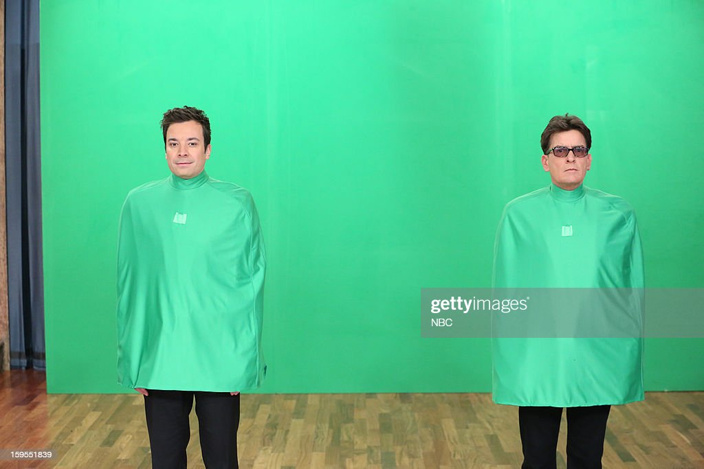 Host Jimmy Fallon with Charlie Sheen during a skit on January 15, 2013 --