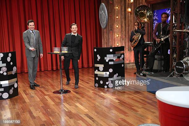 Host Jimmy Fallon with Jeremy Renner during a skit on January 16 2012