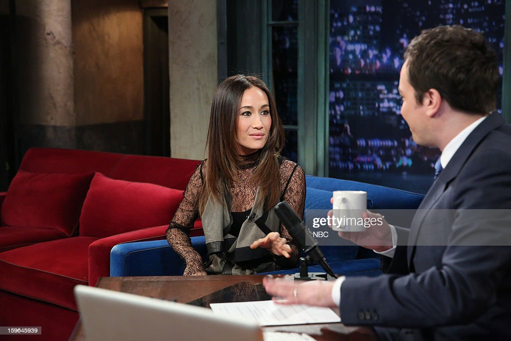 Maggie Q with host Jimmy Fallon during an interview on January 17, 2013 --