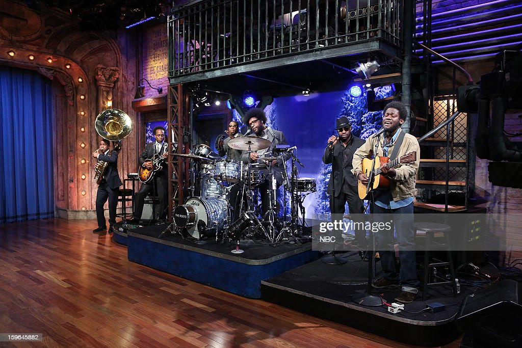 Musical guest Michael Kiwanuka with The Roots on January 17, 2013 --