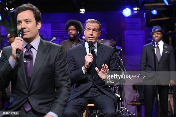 Host Jimmy Fallon News anchor Brian Williams perform during a skit on January 28 2013