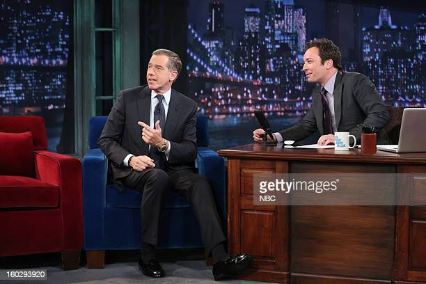 News anchor Brian Williams during an interview with host Jimmy Fallon on January 29 2013