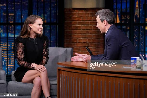 Actress Natalie Portman during an interview with host Seth Meyers on December 13 2018