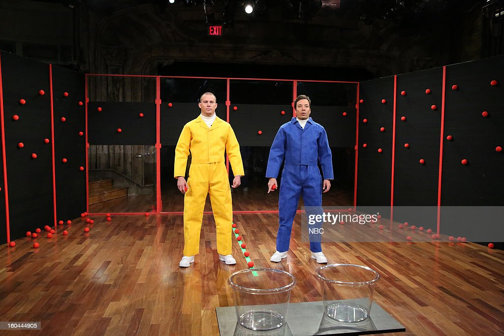 Actor Channing Tatum, host Jimmy Fallon during a skit on January 31, 2013--