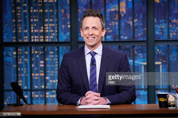 Host Seth Meyers at his desk during the monologue on January 7 2019