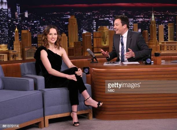 Actress Daisy Ridley during an interview with host Jimmy Fallon on November 28 2017