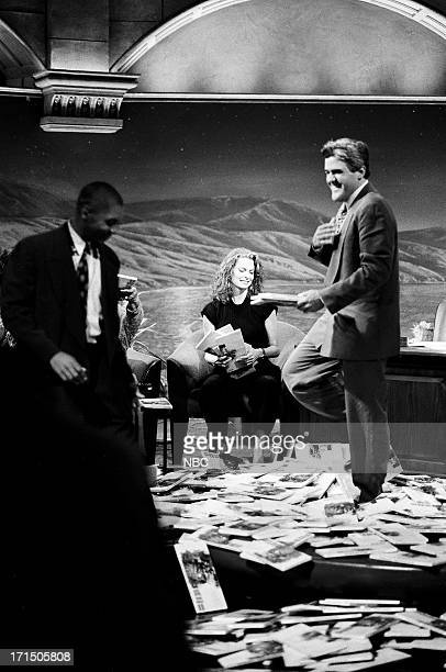 Bandleader Branford Marsalis actress Kathryn Harrold host Jay Leno on September 24 1992