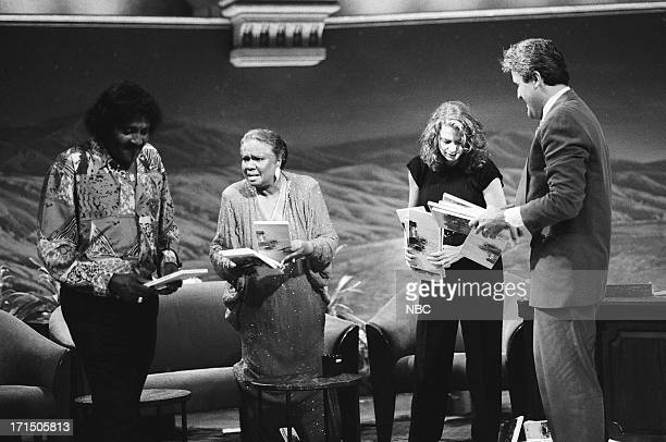 Electric blues guitarist Albert Collins musical guest Linda Hopkins actress Kathryn Harrold during an interview with host Jay Leno on September 24...