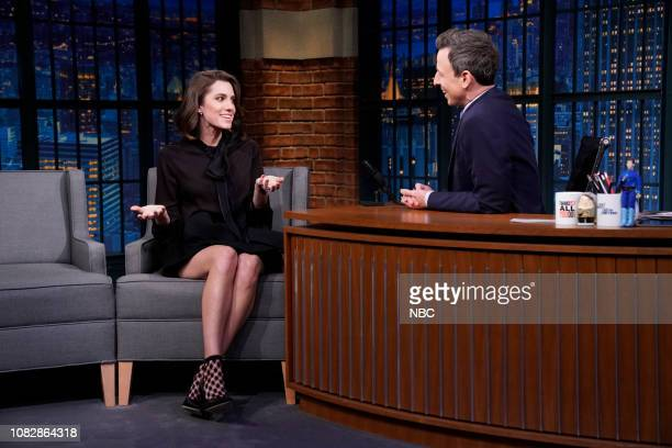 Episode 781 -- Pictured: Actress Allison Williams during an interview with host Seth Meyers on January 14, 2019 --