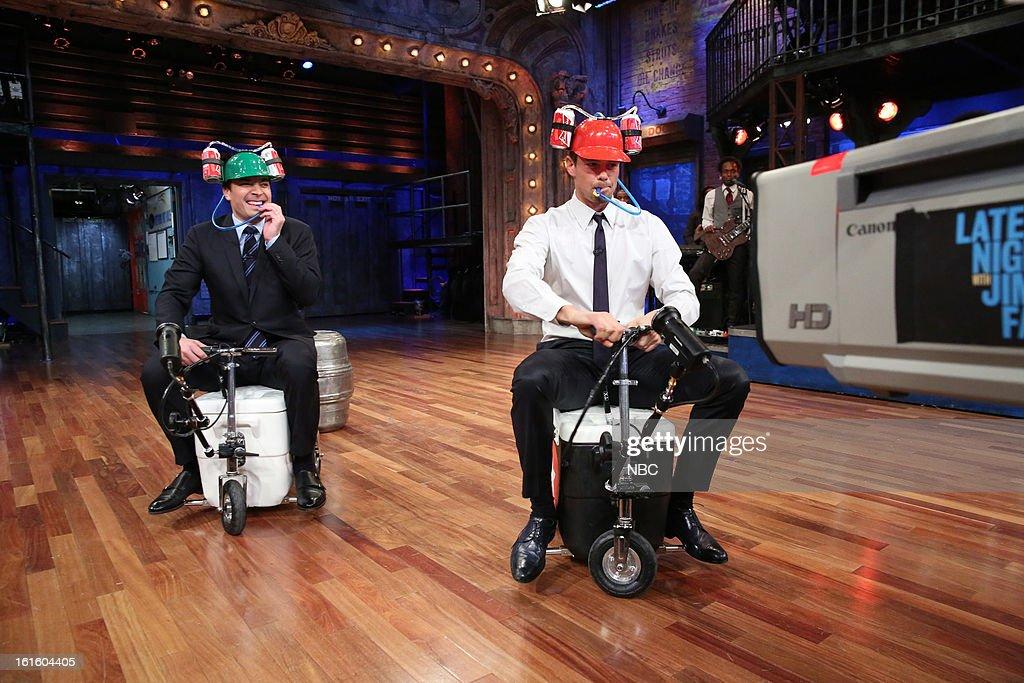 Host Jimmy Fallon with Josh Duhamel during a skit on February 12, 2013 --