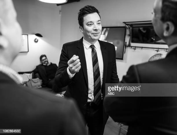 MEYERS Episode 781 Pictured Jimmy Fallon talks with host Seth Meyers on January 14 2019