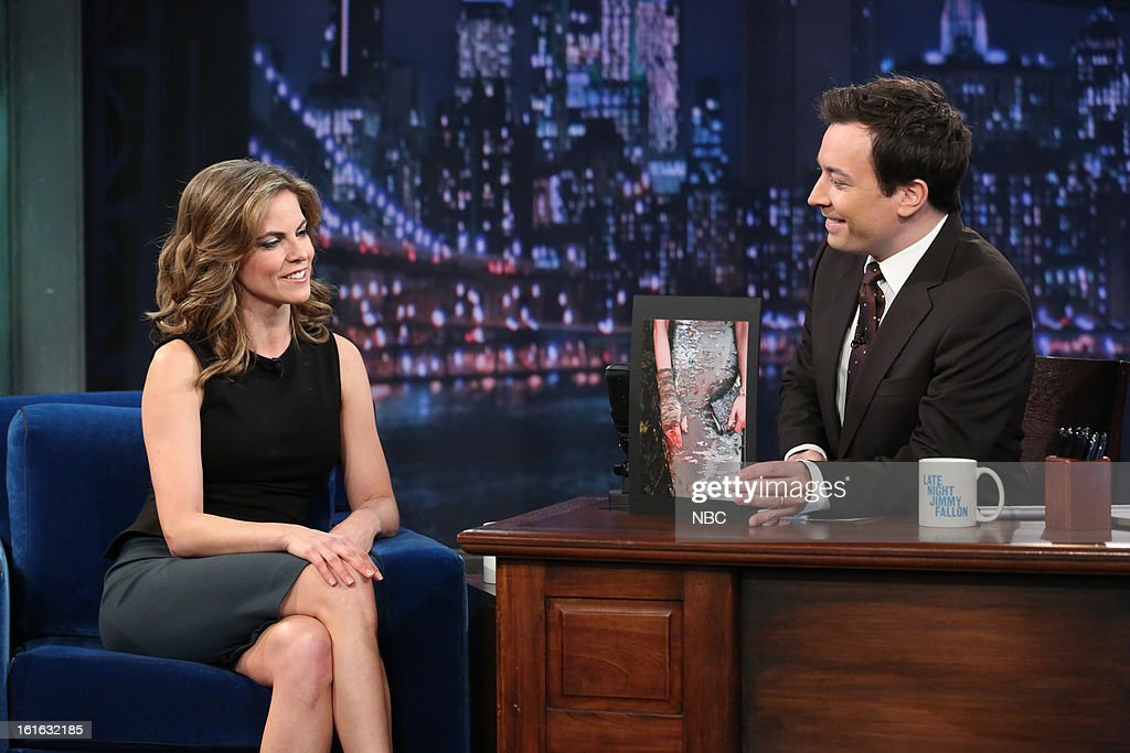 Natalie Morales with host Jimmy Fallon during an interview on February 13, 2013 --