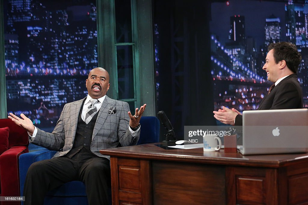 Steve Harvey with host Jimmy Fallon during an interview on February 13, 2013 --