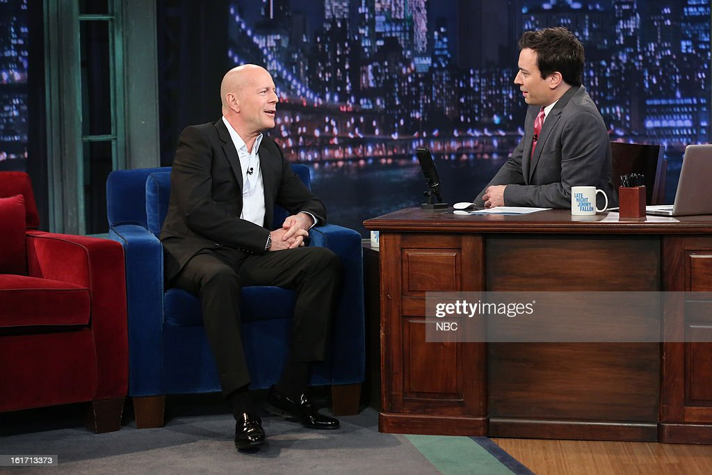 Bruce Willis with host Jimmy Fallon during an interview on February 14, 2013 --