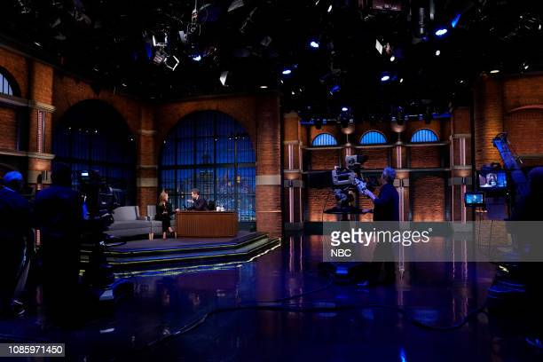 Actress Andrea Savage during an interview with host Seth Meyers on January 21 2019