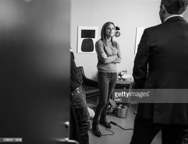Episode 785 Pictured Actress Andrea Savage talks with host Seth Meyers backstage on January 21 2019