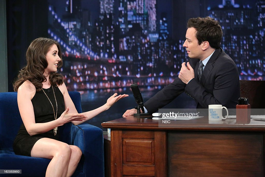 Alison Brie with host Jimmy Fallon during an interview on February 18, 2013 --
