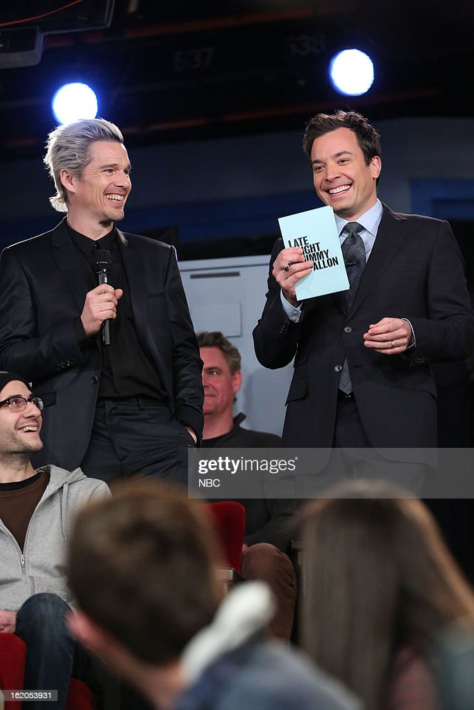 Ethan Hawke with host Jimmy Fallon during a skit on February 18, 2013 --